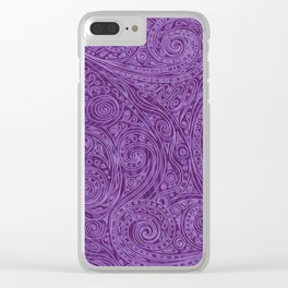 Lavender Spiral Pattern Clear iPhone Case