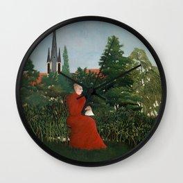 Portrait of a Woman in a Landscape - Henri Rousseau Wall Clock