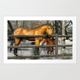 Mare and Foal in Winter Art Print