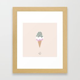 Leopard Ice Cream cone animal print summer trend girls pink peach Framed Art Print