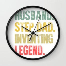 Funny Men Vintage T Shirt Husband Step Dad Inventing Legend Wall Clock