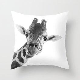 Giraffe Portrait // Grey Wild Animal Cute Zoo Safari Madagascar Wildlife Nursery Decor Ideas Throw Pillow