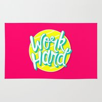 work hard Area & Throw Rugs featuring Work Hard by Chelsea Herrick