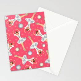 The Nutcracker Christmas Special - Ballerina with Christmas Ornaments and snowflakes Pattern Stationery Cards