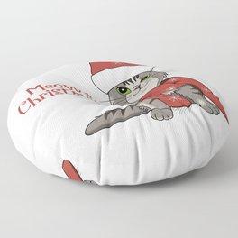 Cat Lover's Meowy Christmas Santa Cat Floor Pillow