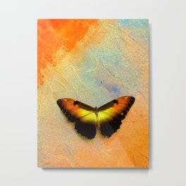 Golden Morpho Metal Print