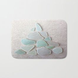 Sea Foam Sea Glass Christmas Tree #Christmas #seaglass Bath Mat