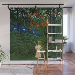 'Woman walking amid Tropical Blue Cornflowers  in an exotic forest' by Henry Rousseau Wall Mural
