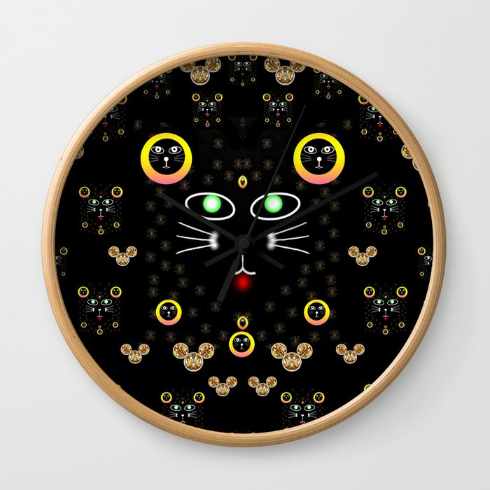 Merry black cat in the night and a mouse involved pop-art Wall Clock