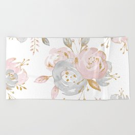 Roses Gold Glitter Pink by Nature Magick Beach Towel