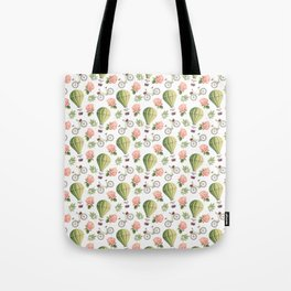 Bicycles Roses and Balloons Pattern Tote Bag