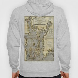 1777 Topographical Map of Rhode Island, Narragansett Bay of Province of New England Hoody