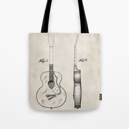 Accoustic Guitar Patent - Classical Guitar Art - Antique Tote Bag