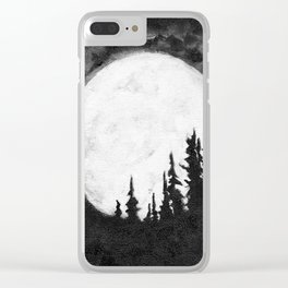 Full Moon & Trees Clear iPhone Case