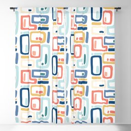 Square Geometric Pattern in Orange Blue Blackout Curtain