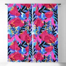 Vibrant Floral Wallpaper Blackout Curtain
