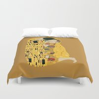 gustav klimt Duvet Covers featuring klimt by Live It Up