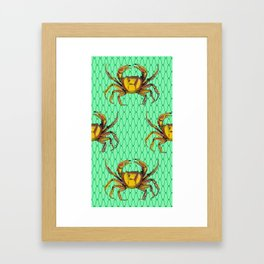 Green Underwater Crab Pop Art Framed Art Print