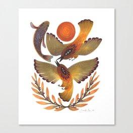 Fighting Birds Canvas Print