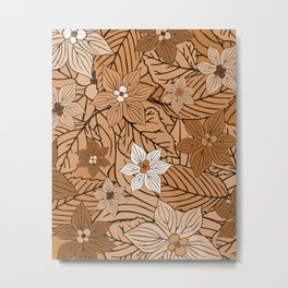 Autumn mood with flowers and leaves in brown and beige romantic illustration Metal Print