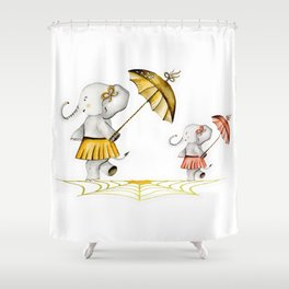 Cheerfull Elphants Shower Curtain