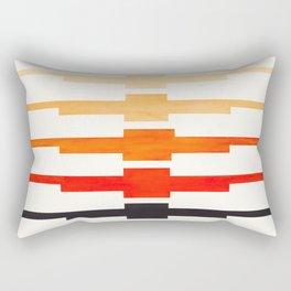 Ancient Aztec Inca Geometric Pattern Watercolor Orange Colorful Gouache Painting Rectangular Pillow