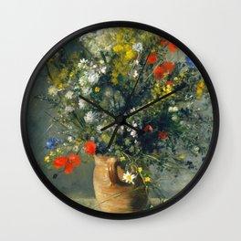 Auguste Renoir - Flowers in a vase, 1866 Wall Clock