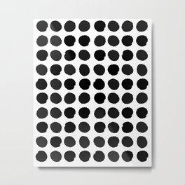 Black and white minimal paint brush painterly dots polka dots minimal modern dorm college painting Metal Print