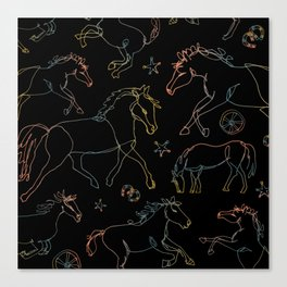 Galloping Horses, Rainbow Gradient on Black Canvas Print