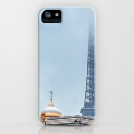 Snowfall over Holy Trinity Russian Orthodox Cathedral - Paris iPhone Case
