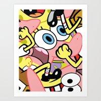 spongebob Art Prints featuring Spongebob by Startled Artist