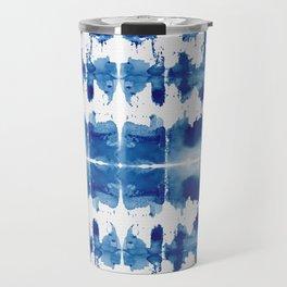 Shibori Tie Dye Indigo Blue Travel Mug