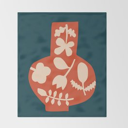 Floral Vase | Blue, Red, + Peach Throw Blanket