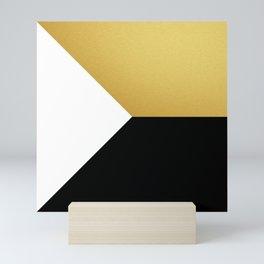 Gold White Black Abstract Geometric Art Mini Art Print