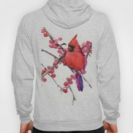 Red Cardinal and Berries, Christmas Red design Christmas Decor Gift Hoody