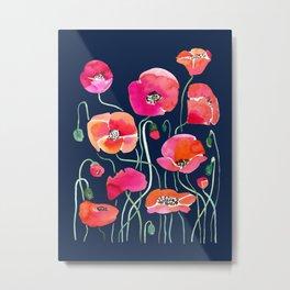 Wild Poppies Dark Metal Print