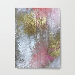 Golden Girl: a pretty abstract mixed media piece in pink, white, gold, and gray Metal Print