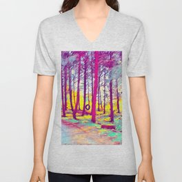 Let's Take Our Hearts For A Walk In The Woods and Listen to the Magic Whispers of Old Trees... Unisex V-Neck