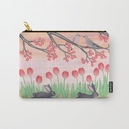 bunnies, tulips, and mourning doves Carry-All Pouch