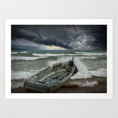 Shipwrecked Wooden Boat amidst Crashing Waves Art Print