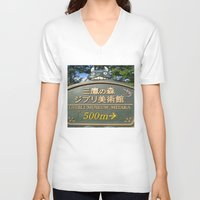 studio ghibli V-neck T-shirts featuring THIS WAY PLEASE - GHIBLI MUSEUM by JCM Art