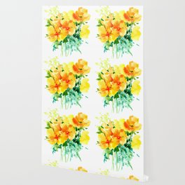 California Poppies, floral home decor Wallpaper