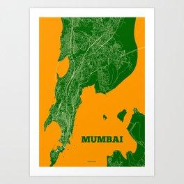 Mumbai Streets Map Art Print
