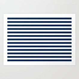 Slate blue and White Thin Stripes - Navy Nautical Pattern Art Print