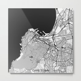 Cape Town Map Gray Metal Print