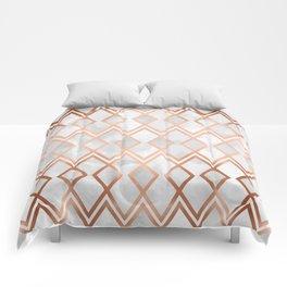 Copper & White Geo Diamonds Comforters