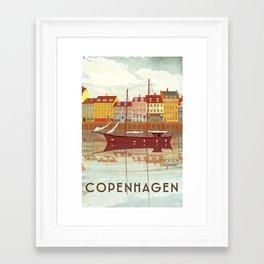 Copenhagen Denmark - Travel Poster Framed Art Print