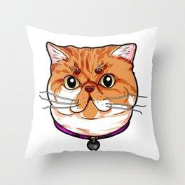 Exotic Shorthair Cat Cats Face Cute Sweet Cartoon Throw Pillow