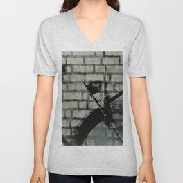 Graffiti Street Art from Original Painting by Jodi Tomer. Abstract Black and White Bricks Unisex V-Neck