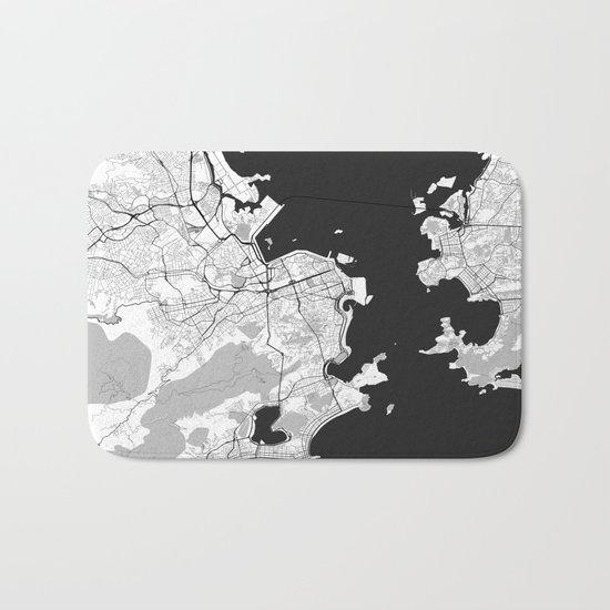 Rio de Janeiro City Map Gray Bath Mat